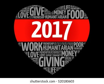 2017 heart concept background, health and sport goals word cloud