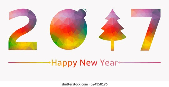 2017 low poly colored background new years
