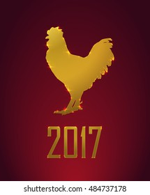 2017 Lunar New Year oriental greeting card design with gold Zodiac Signs - cock. Chinese Year of the Rooster 2017. Golden elements, vector illustration.