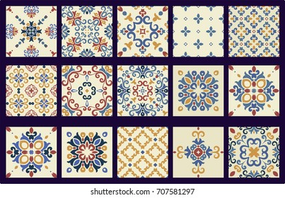 2017 New Collection of 15 ceramic TILES, blue-orange style