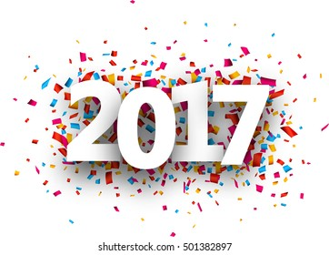 2017 new year background with colour confetti. Vector paper illustration.
