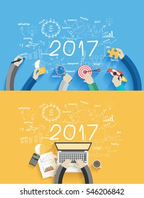2017 new year business success working on laptop computer, Flat design concepts for drawing analysis and planning, consulting, team work, project management, brainstorming, research and development