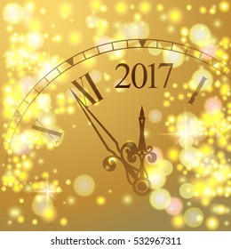 2017 new year gold shining background with clock blured colored flare banner with watch and