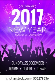 2017 new year party dance people background. Vector event flyer poster design. Happy New Year fun night