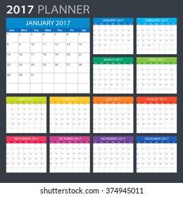 2017 Planner - illustration Vector template of 2017 calendar/planner