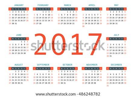 2017 Pocket Calendar Template Calendar Grid Stock Vector Royalty
