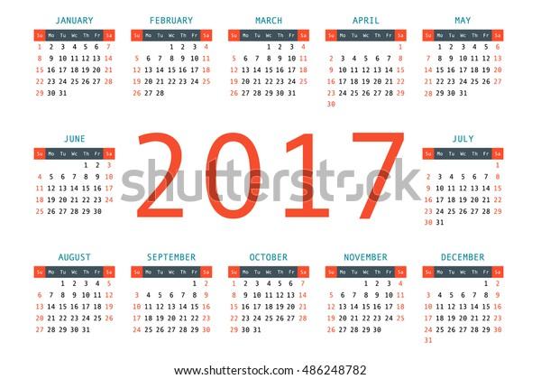 2017 Pocket Calendar Template Calendar Grid Stock Vector (Royalty