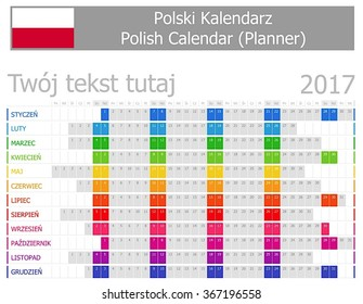 2017 Polish Planner Calendar with Horizontal Months on white background - Shutterstock ID 367196558