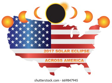 2017 Solar Eclipse Totality across America USA map color vector illustration