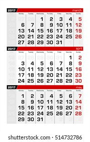 2017 Three-Month Calendar april