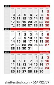 2017 Three-Month Calendar august