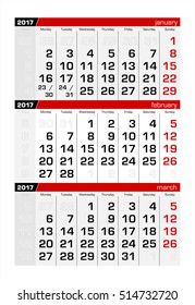 2017 Three-Month Calendar february