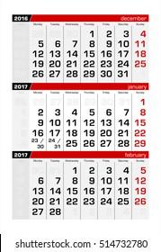 2017 Three-Month Calendar january