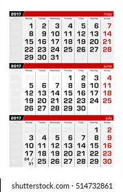 2017 Three-Month Calendar june