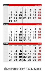 2017 Three-Month Calendar march