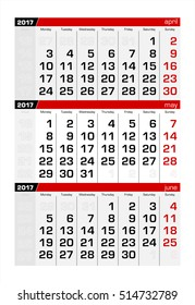 2017 Three-Month Calendar may