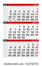 2017 Three-Month Calendar november