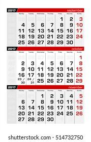 2017 Three-Month Calendar october