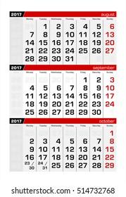 2017 Three-Month Calendar september