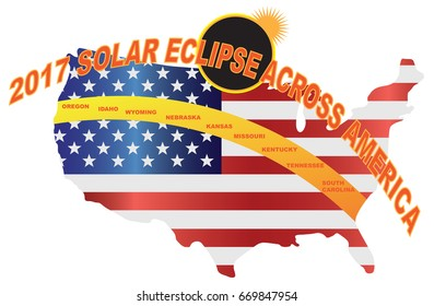2017 Total Solar Eclipse across America USA map color vector illustration