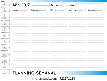 2017 Weekly planner. Spanish calendar for year 2017. Week starts on Monday