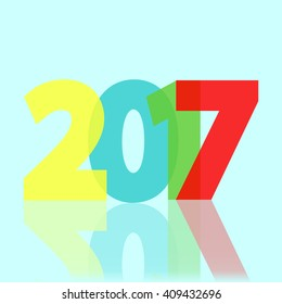 2017 year, Card design, Holiday abstract background, Happy New Year flyer, Merry Christmas, Vector illustration