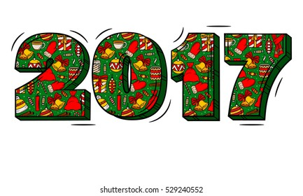 2017 year hand lettering and Christmas elements illustration. Christmas and New years objects on letters background