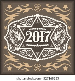 2017 year western cowboy belt buckle with sheriff badge vintage vector design
