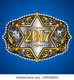 2017 year western cowboy belt buckle with sheriff badge vector design