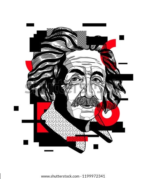 Oсt.11, 2018: Albert Einstein. Geometric modern painting. Vector illustration hand drawn.