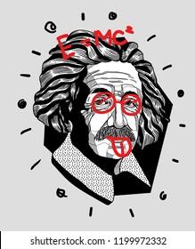 Oсt.11, 2018: Albert Einstein. Vector illustration hand drawn.