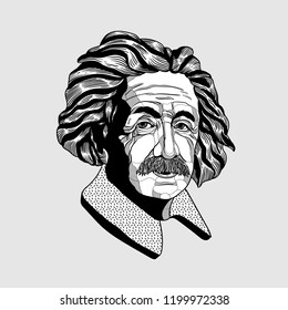 Oсt.11, 2018: Albert Einstein. Vector illustration hand drawn.