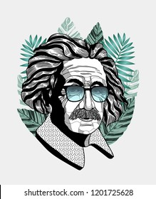 Oсt.13, 2018: Albert Einstein. Vector illustration hand drawn.