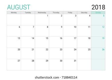 2018 August calendar or desk planner, weeks start on Monday - plain white and light green theme