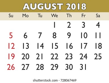 2018 calendar august month vector printable calendar monthly scheduler week starts on sunday