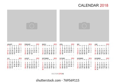 2018 calendar background with blank photo area for copy space vector illustration