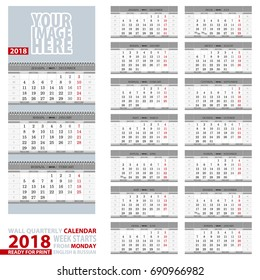 2018 Calendar, design in gray color. Wall quarterly calendar 2018, English and Russian language. Week start from Monday, ready for print. Vector Illustration.