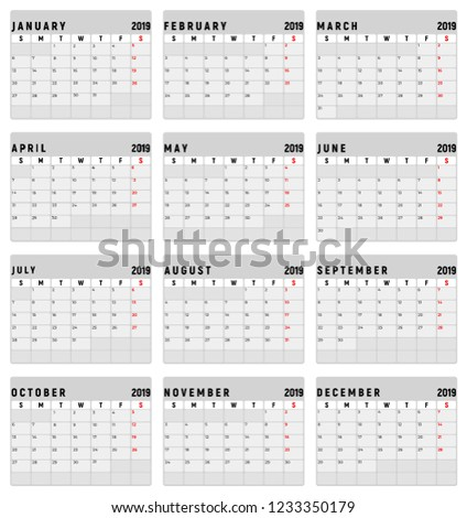 2018 calendar editable vector eps10 isolated background