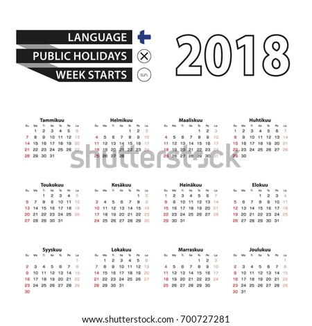 2018 calendar in finnish language week starts from sunday vector illustration