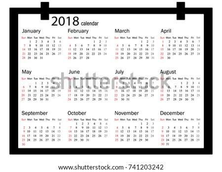 2018 calendar illustration vector template of color 2018 calendar