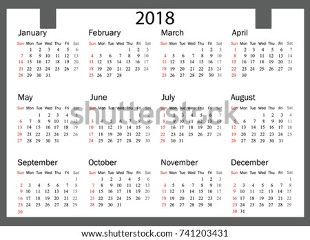 2018 calendar illustration vector template of color 2018 calendar