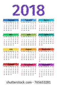 2018 Calendar Months Year Vector Graphics Stock Vector Royalty Free