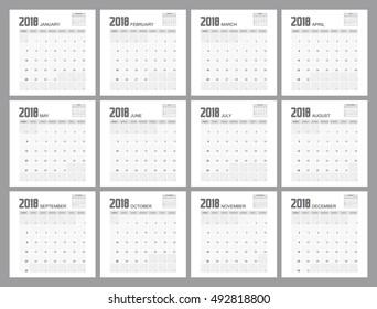 2018 calendar planner design