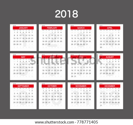 2018 calendar planner design のベクター画像素材 ロイヤリティフリー