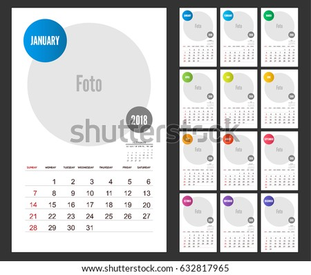 2018 calendar planner design on white background set of 12 months vector template with