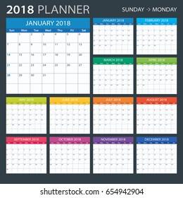 2018 calendar planner - Sunday to Monday