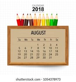 2018 Calendar planner vector design, monthly calendar template for August.