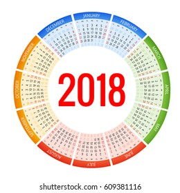 2018 calendar. Print Template. Week Starts Sunday.  Portrait Orientation. Set of 12 Months.