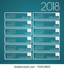 2018 calendar rectangles