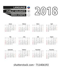 2018 calendar in Slovenian language. Week starts from Sunday. Vector Illustration.